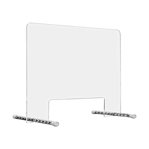 """AMT SNEEZE GUARD 32.5""""W x 29.4""""H, Clear Desktop Protection Barrier, Thick Acrylic Cover, Portable for Desk, Table Countertops, Protection Shield for (1/4"""" Thick)"""