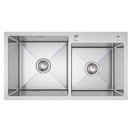 Lonheo 80 * 45 Fregadero XL cocina dos senos fregaderos cuadrado de Acero Inoxidable con 2 Orificios, incluyendo juego de rebosadero y desagüe, Sobre encimera o enrasado