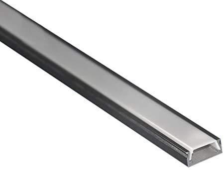 Profilo LED 6 Metri (3 barre da 2 Metri) ultra piatto in alluminio anodizzato L. Dimensioni 15,2 x 6,5 mm Barra per Strisce LED con schermo in policarbonato satinato