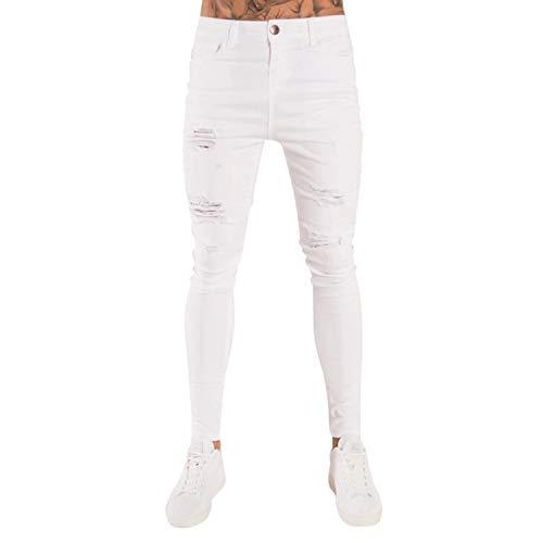 Sweetie L Herren-Jeans, schlanke Bleistifthose, sexy, lässig, mit Löchern Gr. 56, weiß