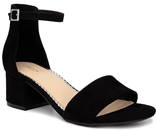 LONDON FOG Women's Nikki Low Two Piece Block Heel Dress Shoe Ladies Ankle Strap Pump Sandal Black 8.5