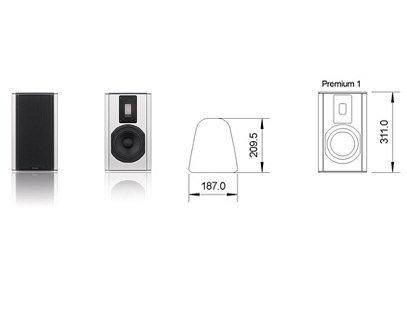 Piega Premium 1 Kompaktlautsprecher | Gehäuse: Silber | Lochgitter: Silber