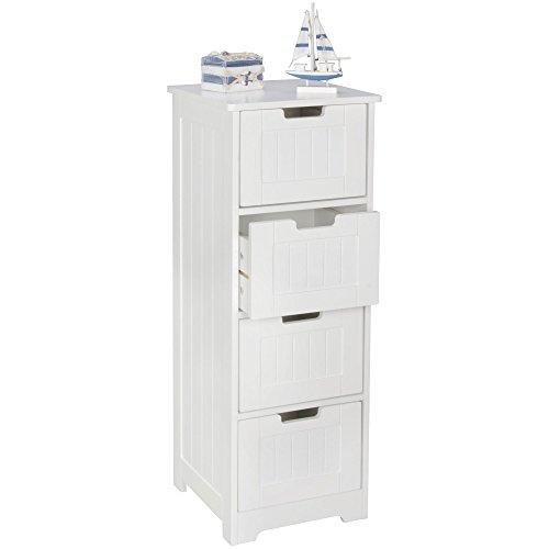 WOHNLING design: adkast LUIS landhuisstijl MDF-hout 30 x 83 x 30 cm wit   badkamerkast klein 4 laden   bijzetkast multifunctionele kast