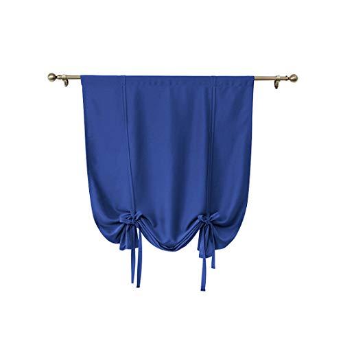 MJL Cortina Opaca con Bolsillo para Barra con Aislamiento Térmico Estilo Romano Cortina Vertical Decoración de Ventana con Alzapaños para Ventana Pequeña Azul Oscuro M 80 * 120cm