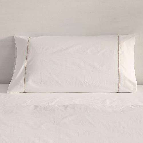 Don Descanso - Funda de Almohada Algodón 100% Blanca 180 Hilos para Almohada 150 cm. Máximo Frescor y Calidad, Suave, Transpirable y Ligera. Apta para Lavar a 30ºC.
