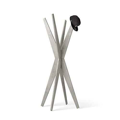 Mobili Fiver, Appendiabiti da Terra di Design, Emma Cemento, 80 x 80 x 170,5 cm, Nobilitato, Made in...