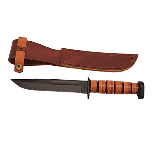 "KA-BAR 1317, Dog's Head Utility Knife W/Sheath, Brown, 12"""