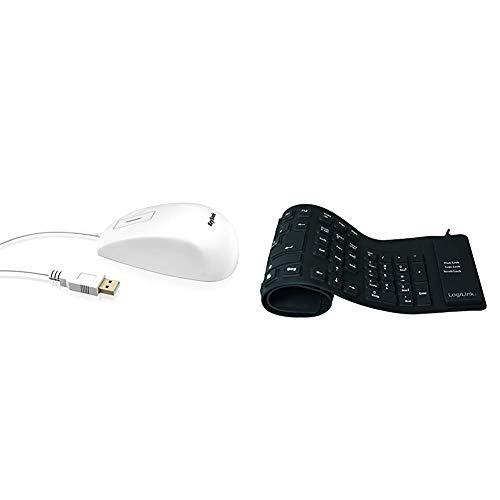KeySonic KSM-5030M-W wasserdichte Maus aus Silikon, Touchsensor zum Scrollen, Schutzklasse IP68, USB-Kabel (1,8 m), weiß und LogiLink Tastatur Flexibel Wasserfest USB mit PS/2 schwarz