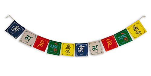 Buddha of Compassion Tibetan Prayer Flags Om Mani Padme Hum Set of 10