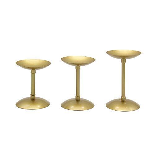 VINCIGANT Säule Gold Kerzenhalter, Metallkerzenhalter Für Tischdekoration, Weihnachtsdekoration Kerzenhalter, 3er-Set (4,34 × 4,92 × 5,7 Zoll)