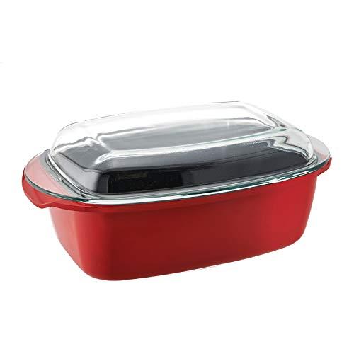 Steinbach Rechteckbräter Rosemond | 32 cm | 6 Liter | mit Glasdeckel | Backofenfest bis ca. 180 °C | Bräter | Aluguss (Rot)