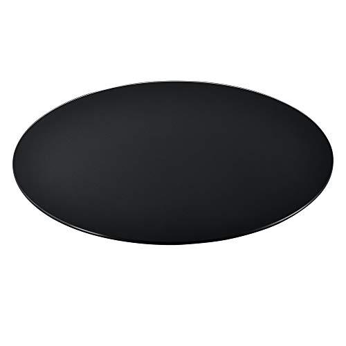 [Neu.Haus] Tablero de Vidrio para Mesa de Centro para Mesa de Comedor Placa Inferior para Chimenea Vidrio Templado Ø 700 x 6 mm Negro
