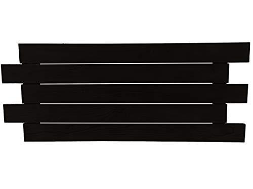 Cabecero de madera maciza de pino, estilo Cruzado. Fabricado con Listones debidamente tratados. Incluye colgadores de Pared, tornillería y tacos. Pintura para madera transpirable lasur semimate negro.