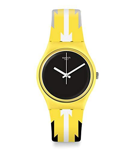 Swatch Unisex– Erwachsene Analog Schweizer Quarz Uhr mit Silicone Armband GJ140