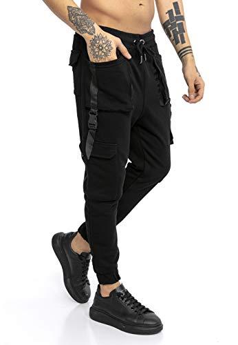 Redbridge Pantalone da Tuta Uomo Joggers Sweat-Pants Stile Cargo con Tasche Nero M