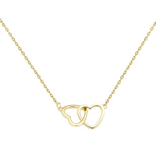 ShFhhwrl Collar Collar Corto En Forma De Corazón De Doble Anillo, Cadena De Clavícula Femenina, Diseño Simple para Mujer, Joyería De Moda P