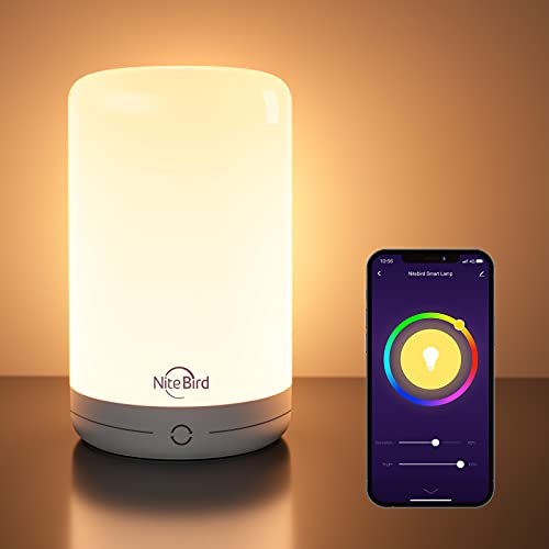 Smart Table Lamp, Nitebird Dimmable Color Changing Bedside Lamp Works with Alexa and Google Home, App and Touch Control RGB Warm White LED Tap Lamp for Bedroom Living Room