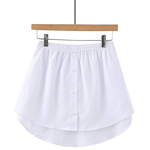 QPZM Frauen gefälschte Bluse Schwanz, Innenrock A-Linie Hemd Saum, Abnehmbarer Rock Unterrock aus Baumwolle,White,XL