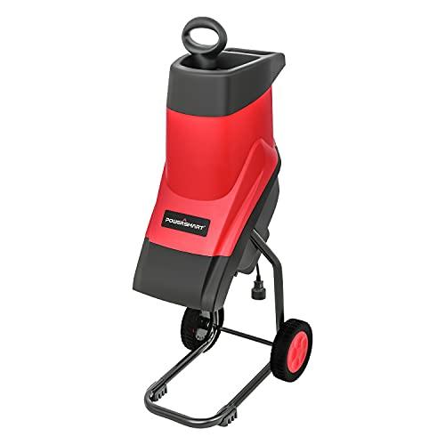 PowerSmart Wood Chipper, Wood Shredder, Leaf mulcher, Electric Garden Shredder with Safety Locking Knob, 15-Amp Brushless Induction Motor, Silence & Long-Life, PS10