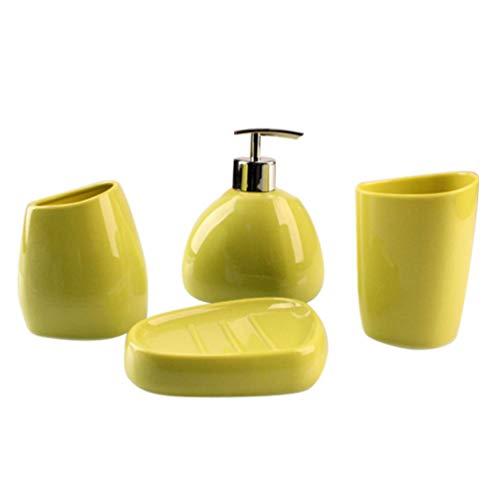 PIXNOR Juego de Accesorios de Tocador para Baño de 4 Piezas Dispensador de Jabón Acrílico Soporte para Cepillo de Dientes Vaso Taza Botella de Loción para Encimera Verde