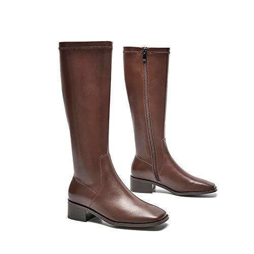SANYUXIA Pelle Cavaliere Stivali Piatti grossi Stivali Tallone delle Signore di Alta Stivali Autunno Lungo Inverno Boots (Color : Coffee Color, Size : 37)