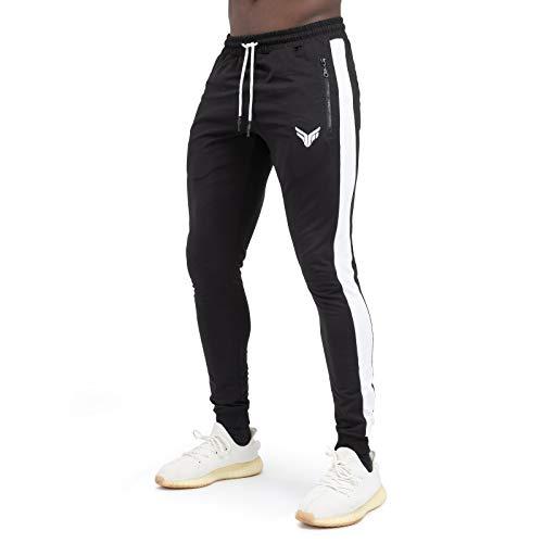 Fitness Method® Jogginghose für Herren - Innovative Traningshose, Extra Flexible Sporthose - Perfekt geeignet für Gym | Fitnesshose Slim Fit lang (Schwarz - Weiß, L)