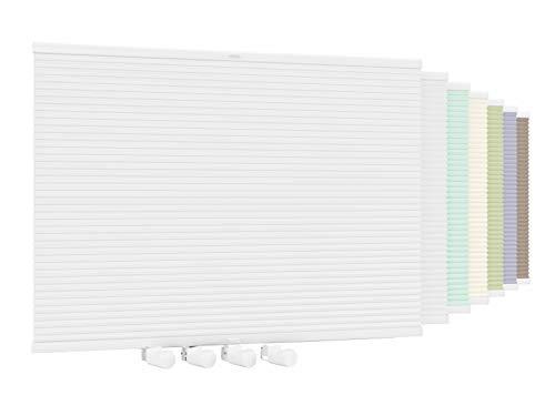 Aloha Doppelplissee Wabenplissee Verdunkelung Wärmeisolierung Honeycomb Honigfalte Einfarbig ohne Bohren Klemmfix (Weiß-Weiß / 45x210cm / Breite x Höhe)