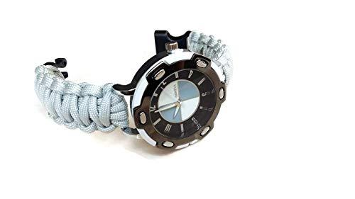 Orologio da polso 18 cm uomo sportivo paracord 550 Cinturino grigio corda nylon Regalo per lui
