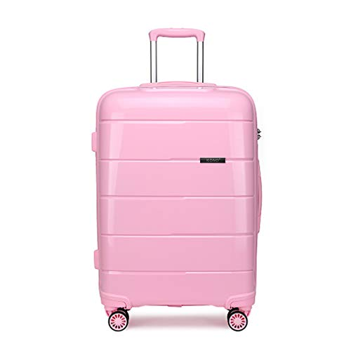 Kono Hard Shell 28 inch Large Check in Luggage in TSA Lock 4 Wheeled Spinner Polypropylene Suitcase with YKK Zipper (L (74cm - 105L), Pink)