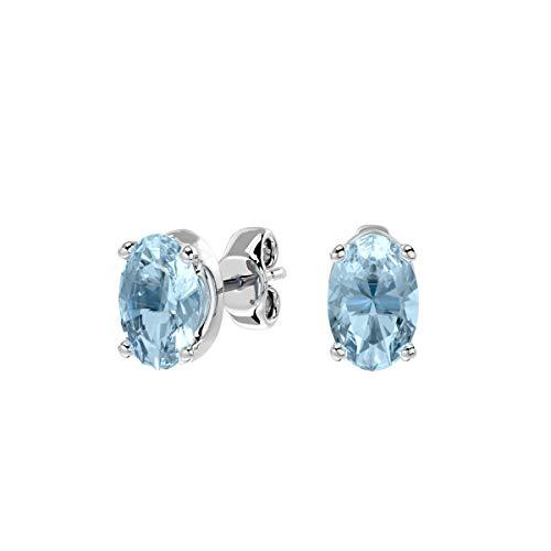 VVS Gems ; The Language of Diamond plata de ley 925 plata de ley ovalada Blue Aquamarine