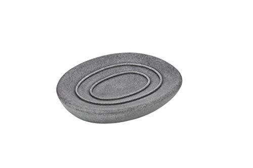 WENKO Seifenablage Pebble Stone, Seifenhalter in Steinoptik, natürlicher Look, aus hochwertigem Kunststein gefertigt, 12.1 x 2.2 x 10.1 cm, Grau