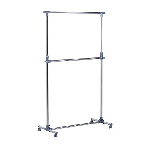 HOMCOM Heavy Duty Clothes Hanger Garment Rail Hanging Display Stand Rack w/Wheels Adjustable