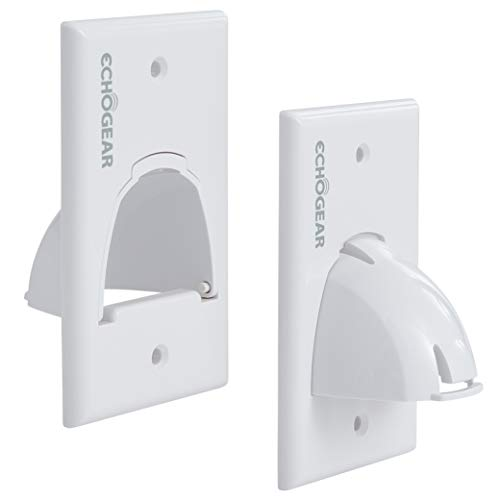 Echogear White in Wall Cable Hider for Wall Mount TV - Single Gang Pass Through Pair with Drywall Brackets Included - Manage 8 Low Voltage Cords Behind The Wall - Quick Install with Wall Template