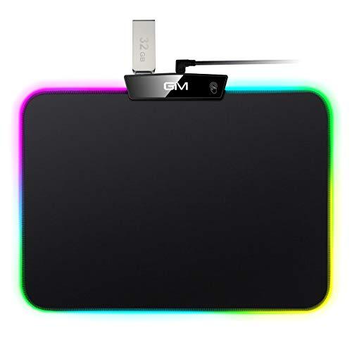 ICETEK RGB Tapis de Souris de Jeu avec 15 Lumières LED Commutables avec écran Tactile Tapis de Souris de Bureau USB Convient pour PC de Bureau-L- (350 x 250 x 5 MM)