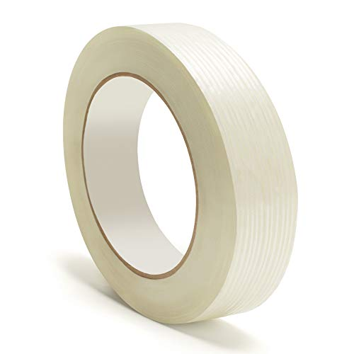 1 Inch Wide x 60 Yards Length Filament Strapping Tape 1 Width Tear Resistant Heavy Duty Self Adhesive Packing Tape