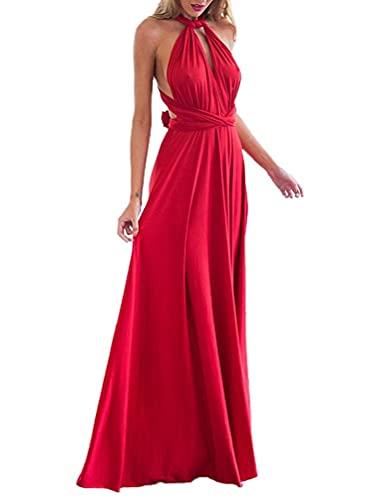 Minetom Donne Elegante Collo V Senza Maniche Halterneck Lunga Vestito Multi-Usura Trasversale Maxi Abito Matrimonio Banchetto Sera Rosso IT 44