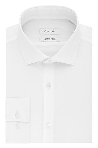 "Calvin Klein Men's Dress Shirt Xtreme Slim Fit Non Iron Herringbone, White, 14.5"" Neck 32""-33"" Sleeve"