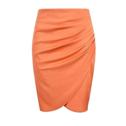 ZLYCP - Falda para mujer, talla grande, con falda de cadera Naranja naranja 48