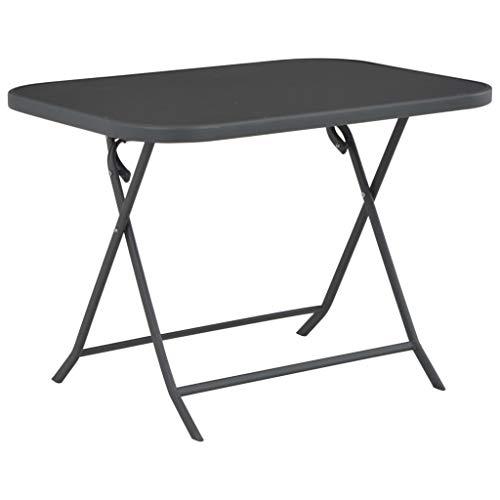 Nishore Mesa para Exterior Conjunto de Muebles Plegables Acero y Cristal Seguro Gris 100 x 75 x 72 cm Gris