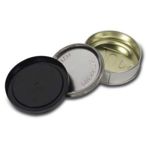 Lattine con linguetta da 100ml per tonno, autosigillanti, con coperchio in plastica nera Nero