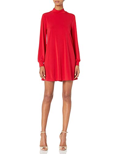BCBGeneration Women's Mock Neck Trapeze Dress, Ruby Red, Large