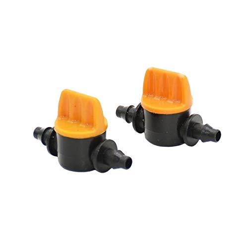 KQYAN 1/4 Pulgadas de la Manguera de jardín Manguera Miniatura de válvulas 4/7 mm Barb riego de válvulas Waterstop Conectores Grúas Interruptor Ajustable 200pcs