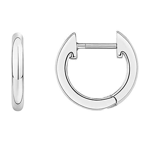 PAVOI 14K White Gold Plated Cuff Earrings Huggie Stud | Small Hoop Earrings for Women