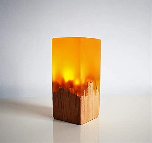 HBWH Nuevos regalos lámpara de escritorio USB botón de encendido resina regalo de madera sólida único LED noche lámparas de mesa para dormitorio decoración de escritorio dormitorio (amarillo)