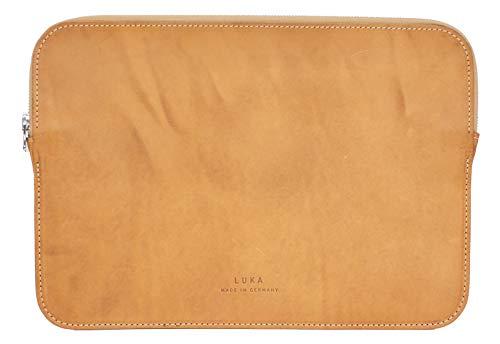 LUKA Funda de piel para portátil de 13 pulgadas, color marrón claro – Funda para portátil MacBook Pro/Air Notebook Ultrabook de Asus, Acer, Lenovo, HP, Dell, etc. – Sostenible y fabricado en Europa