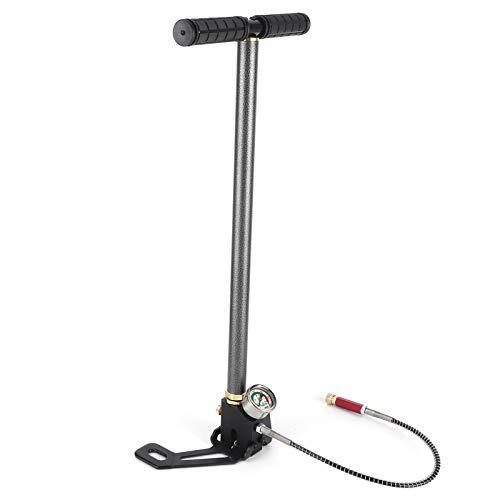 EBTOOLS Bomba de pie de Bicicleta con manómetro, 6000Psi Bomba de Aire de 3 etapas Bomba de Aire Manual de Alta presión Bomba de pie de Acero Inoxidable para Pistolas de pulverización de Bicicleta