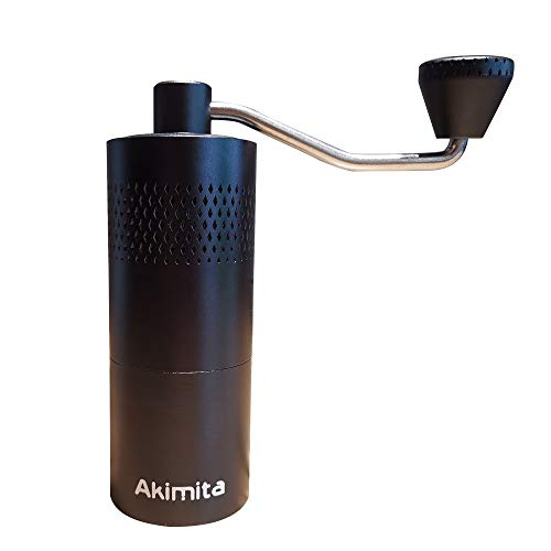 Akimita Manual Coffee Grinder with Stainless Steel Conical Burr, Adjustable Setting Hand Mill for Drip Coffee, Espresso, French Press, Turkish, Black,20Grams