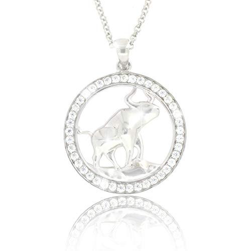Pacel ✮S Dames-sterrenbeeld-halsketting, stier van echt 925 zilver, met glanzende zirkonia in AAA-kwaliteit uit de collectie ECLIPSE incl. sieradendoos en certificaat van echtheid