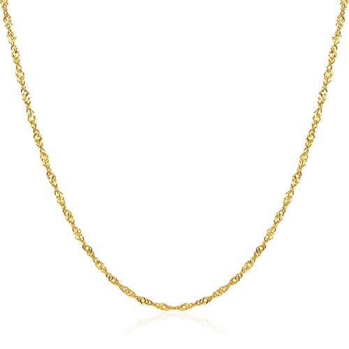 HAWSON 2mm Diamond-Cut Braided Twist Rope Chain Necklaces for Girls, 18k Gold Dainty String Links Chain,Women Chokers 16
