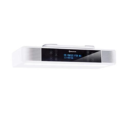 auna KR-140 - Radio bajo Mueble, Radio de Cocina, Bluetooth, FM, Dab+, 3 W Potencia Media, Pantalla táctil, Manos Libres, Iluminación LED, Alarma, Temporizador, Blanco Floral